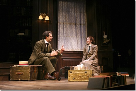 "Robert Adelman Hancock and Megan McGinnis in Northlight Theatre's ""Daddy Long Legs"". Photo by Jeanne Tanner."