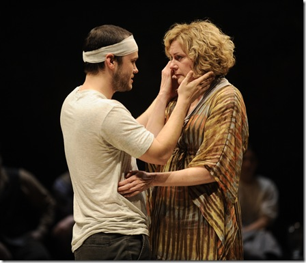 Konstantin (Stephen Louis Grush) shows his affection for his mother, Arkadina (Mary Beth Fisher), after a traumatic experience.