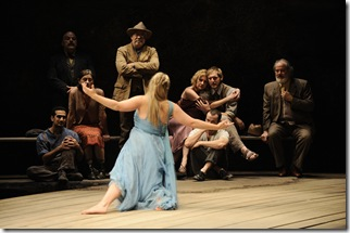 Nina (Heather Wood) performs in one of Konstantin's plays in front of (l to r) Medvendenko (Demetrios Troy), Shamrayev (Steve Pickering), Polina (Janet Ulrich Brooks), Dr. Dorn (Scott Jaeck), Arkadina (Mary Beth Fisher), Trigorin (Cliff Chamberlain), Konstantin (Stephen Louis Grush) and Sorin (Francis Guinan).