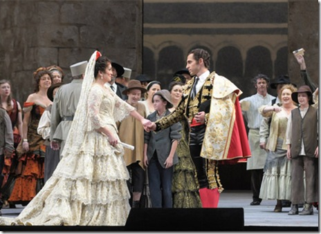 Katharine Goeldner, Kyle Ketelsen in Act III - Lyric Opera Carmen - photo by Dan Rest