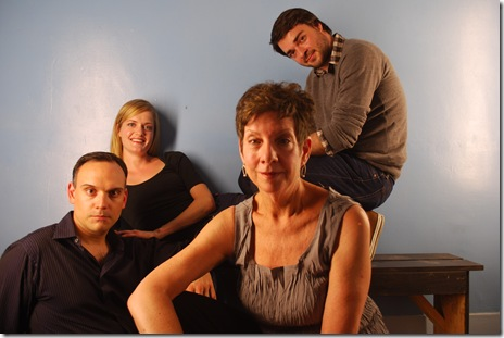 Obscura at Chicago's Red Tape Theatre: (Left to right) Robert Oakes, Meghan Reardon, Lona Livingston, Nicholas Combs.  Photo by James Palmer