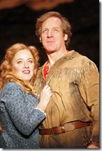 (L-R)  Abby Mueller (Milly) and Steve Blanchard (Adam) star in SEVEN BRIDES FOR SEVEN BROTHERS, running through December 19 at Drury Lane Theatre. Photo by Brett Beiner