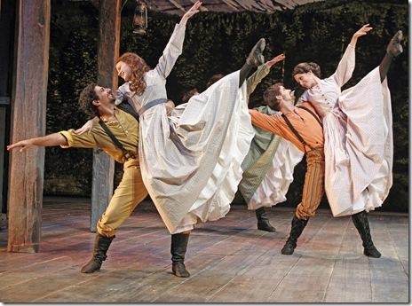 (L-R) Chris Yonan, Hallie Cercone, Jarret Ditch, and Cara Salerno star in SEVEN BRIDES FOR SEVEN BROTHERS, running through December 19 at Drury Lane Theatre. Photo by Brett Beiner