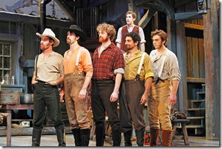 (L-R) Richard Strimer, Jarret Ditch, William Travis Taylor, Chris Yonan, Brandon Springman and (back) Zach Zube star in Seven Brides for Seven Brothers.  Photo by Brett Beiner.