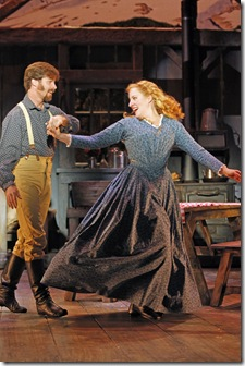 (L-R) Richard Strimer (Benjamin) and Abby Mueller (Milly) star in SEVEN BRIDES FOR SEVEN BROTHERS, running through December 19 at Drury Lane Theatre. Photo by Brett Beiner