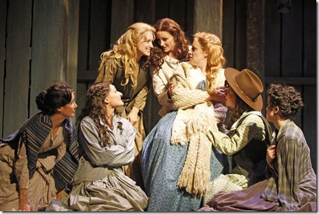 (L-R) Cara Salerno, Vanessa Panerosa, Amber Mak, Hallie Cercone, Abby Mueller, Katie Huff, and Amanda Kroiss star in SEVEN BRIDES FOR SEVEN BROTHERS, running through December 19 at Drury Lane Theatre. Photo by Brett Beiner
