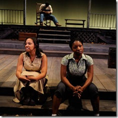 Ashley Honore, Kamal Angelo Bolden, and Tracey N. Bonner in Home at Court Theatre