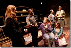 (Left to right) Rebekah Ward-Hays, Austin Talley, Kate Kisner (seated), Teeny Lamothe and (standing, back row) Matthew Sherbach and Faith Noelle Hurley in Dog & Pony Theatre Company's Midwest premiere of Auctioning the Ainsleys Nov. 12-Dec. 18 at The Building Stage