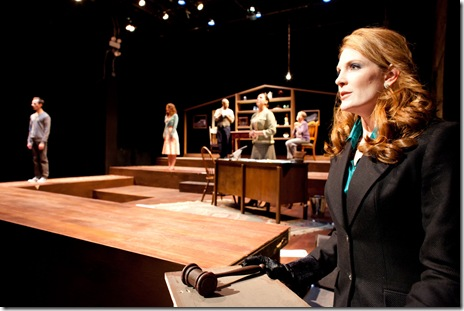 Rebekah Ward-Hays (right, front) and cast in Dog & Pony Theatre Company's Midwest premiere of Auctioning the Ainsleys