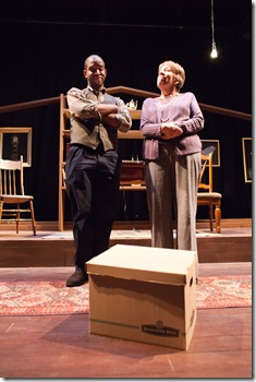 Austin Talley and Kate Kisner in Dog & Pony Theatre Company's Midwest premiere of Auctioning the Ainsleys Nov. 12-Dec. 18 at The Building Stage