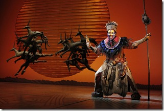 Brenda Mhlongo as Rafiki in opening number - Circle of Life - Lion King