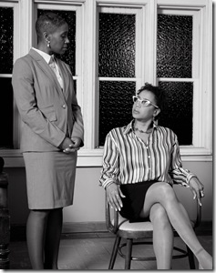 """left to right are Shariba Rivers (as the defendant's lawyer Ms. Allen), and plaintiff Jacquie Coleman (as plaintiff Regina Wade), in Todd Logan's """"Defamation,"""" a Canamac Productions world premiere courtroom drama in a limited run at three Evanston, Illinois, houses of worship, directed by Richard Shavzin."""