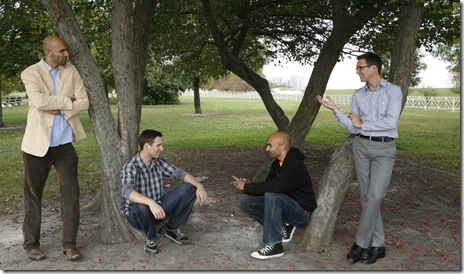 (from left) Usman Ally, Collin Geraghty, Usman Ally and Collin Geraghty in the Midwest premiere of The Four of Us