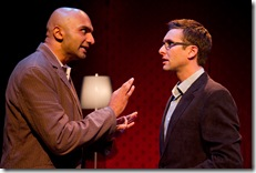 (from left) Usman Ally plays David and Collin Geraghty portrays Benjamin in the Midwest premiere of The Four of Us,