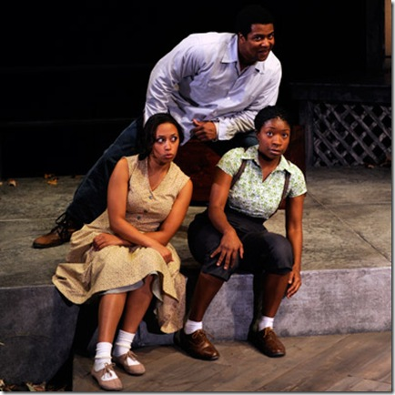 Kamal Angelo Bolden, Ashley Honore, and Tracey N Bonner in Home at Court Theatre