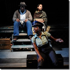Scene from Home at Court Theatre - Ashley Honore, Kamal Angelo Bolden, and Tracey N. Bonner
