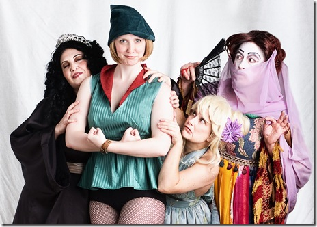 piccolo theatre, robin hood, 2010, Fairy (Vanessa Hughes), Robin Hood (Berner Taylor), Fairy (Amy Gorelow), Bess Flatbottom (Andrew Roberts)