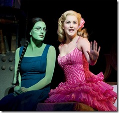 Jackie Burns and chanra Lee Schwartz as Elphaba and Glinda in Wicked