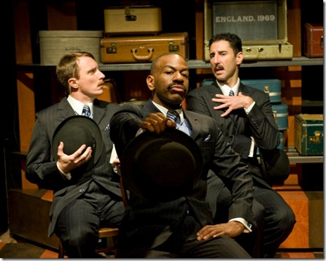John Hoogenakke, LaShawn Banks and Sean Fortunato in TRAVELS WITH MY AUNT, now playing at Writers' Theatre in Glencoe.