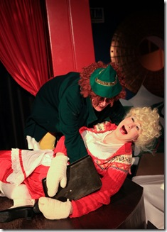 Mrs. Claus loses her balance. by David as Joan