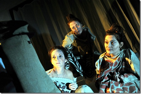 Mike Tepeli as John Merrick and Laura Rook, Stephanie Sullivan, and Jill Connolly as the Pinheads. Photo by Peter Coombs.