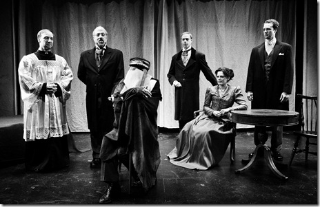 Thad Anzur as Bishop How, Michael Kingston as Carr Gomm, Mike Tepeli as John Merrick, Michael Mercier as Lord John, Cameron Feagin as Mrs. Kendall, Steve O'Connell as Frederick Treves. Photo by Peter Coombs