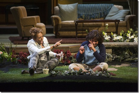 (l to r) Jasmine (Christiana Clark) and Iris (Karen Aldridge) reminisce about their past. Photo by Brandon Thibodeaux.