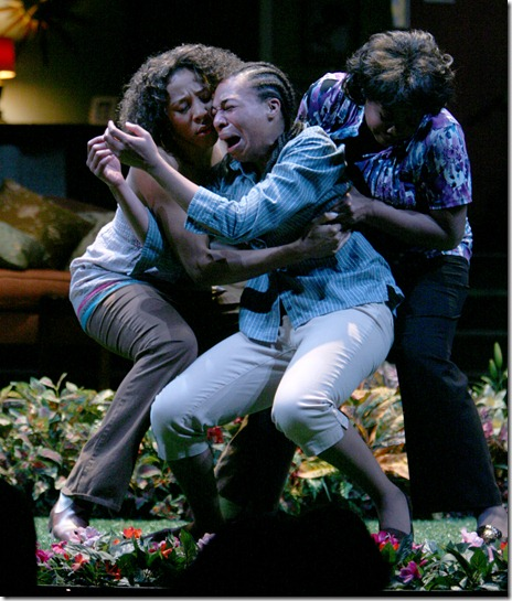 Jasmine (Christiana Clark) and Daisy (Jacqueline Williams) hold on to Iris (Karen Aldridge) as she succumbs to her feelings. Photo by Eric Y. Exit.