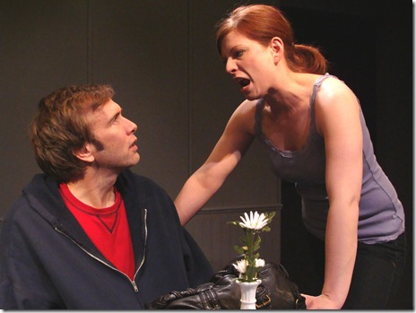 Darrel W. Cox and Darci Nalepa in Neil LaBute's 'reasons to be pretty' at Profiles Theatre.  Photo by Wayne Karl.