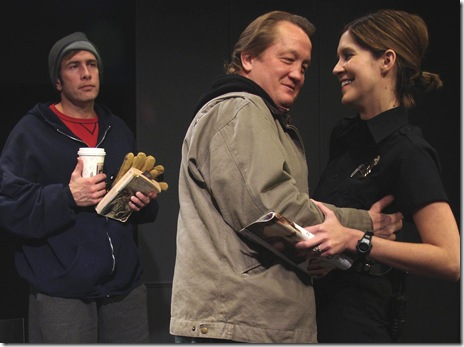 Darrell W. Cox, Christian Stolte and Somer Benson in Neil LaBute's 'reasons to be pretty' at Profiles Theatre.  Photo by Wayne Karl.