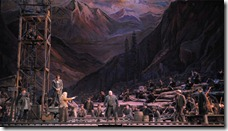 "Debra Voigt with the men of the camp in Act 3 of ""Girl of the Golden West"" at Lyric Opera. Photo by Dan Rest"