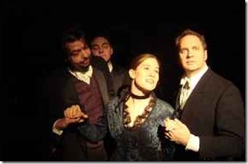 Donaldson, Ryan Huges and Mark Dodge as The Gentlemen Suitors and Jessamyn Fitzpartrick as Madelene , Photo by D. Denman