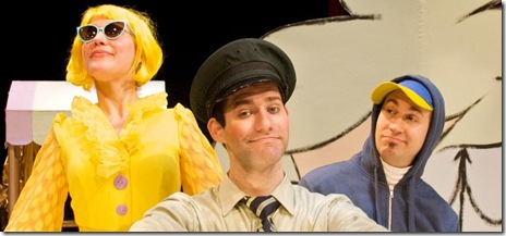 From left to right: Daiva Bhandari as Duckling, Bret Beaudry as Bus Driver, and James Zoccoli as Pigeon.