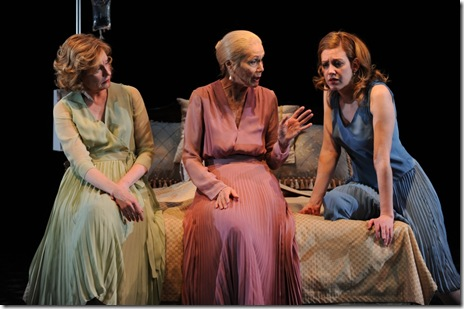 Edward Albee's Three Tall Women features Mary Beth Fisher (Woman B), Lois Markle (Woman A), Maura Kidwell (Woman C).  Photo by Michael Brosilow.