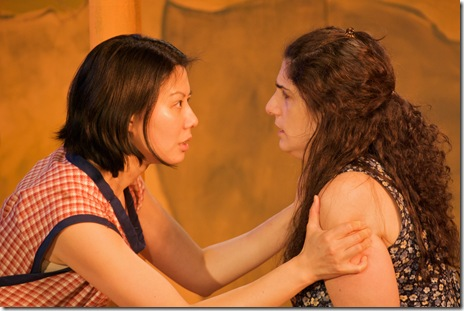 Helen Young and Jennifer Adams in Trickster-- Photo byTom McGrath