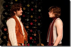 "(left to right) Keith (Joseph Stearns) discusses with Mick (Nick Vidal) the direction the band is taking, in Signal Ensemble Theatre's world premiere of the drama with music ""Aftermath""."