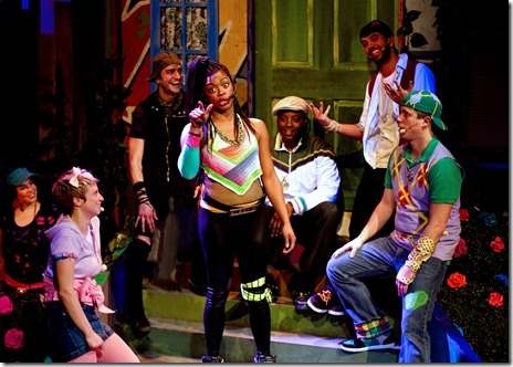 Funk it Up Cast (left to right) - DJ Adrienne Sanchez, Jillian Burfete, GQ, Ericka Ratcliff, Postell Pringle, JQ and Jackson Doran. Photo by John W. Sisson Jr.