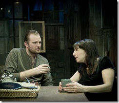 Joseph Wiens (Pato) and Eileen Niccolai (Maureen) star in Shattered Globe Theatre's production of Martin McDonagh's The Beauty Queen of Leenane. Photo Credit: Kevin Viol