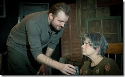 Joseph Wiens (Pato) and Linda Reiter (Mag) star in Shattered Globe Theatre's production of Martin McDonagh's The Beauty Queen of Leenane.  Photo Credit: Kevin Viol.