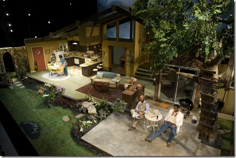 (l to r) Iris (Karen Aldridge) and Daisy (Jacqueline Williams) prepare dinner while Frank (Jefferson A. Russell) and Jack (Samuel Ray Gates) get acquainted in the yard. Photo by Eric Y. Exit