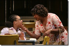 (l to r) Daisy (Jacqueline Williams) wishes her niece Iris (Karen Aldridge) a happy 17th birthday, reminding her to cherish her youth. Photo by Eric Y. Exit.