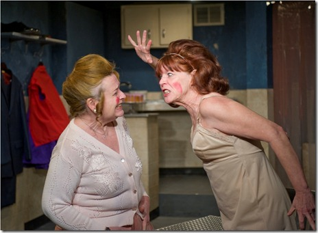 "Laurie Larson and Kate Buddeke in A Red Orchid Theatre's 'The New Electric Ballroom"". Photo credit: Michael Brosilow."