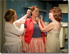 "Laurie Larson, Kirsten Fitzgerald and Kate Buddeke in A Red Orchid Theatre's 'The New Electric Ballroom"". Photo credit: Michael Brosilow."