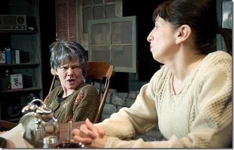 Linda Reiter (Mag) and Eileen Niccolai (Maureen) star in Shattered Globe Theatre's production of Martin McDonagh's The Beauty Queen of Leenane.  Photo Credit: Kevin Viol