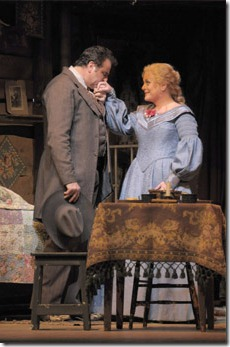 "Marcello Giordani and Deborah Voigt in the ""Girl of Golden West"", playing through February 21st at the Lyric Opera of Chicago. Photo by Dan Rest"
