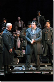 "Marco Vratogna, Marcello Giordani in ""Girl of the Golden West"" at Lyric Opera. Photo by Dan Rest."