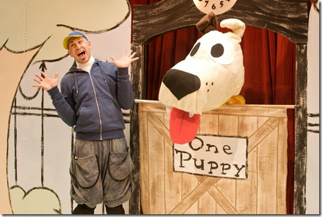 James Zoccoli as Pigeon is not so sure he wants a puppy anymore.