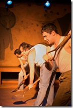 (R to L) Riso Straley, Derrick York and Rudy Galvan in Trickster--Photo byTom McGrath