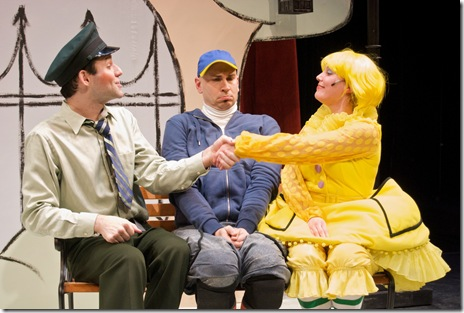 From left to right: Bret Beaudry as Bus Driver, James Zoccoli as Pigeon, and Daiva Bhandari as Duckling.