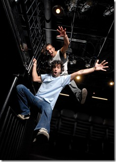 The Q Brothers, GQ (top) and JQ (bottom), co-creators and directors of Chicago Shakespeare Theatre's 'Funk It Up about Nothin' at Navy Pier. Photo by Bill Burlingham.